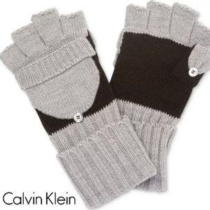 Calvin Klein Colorblock Flip-Top Gloves Gray/Black